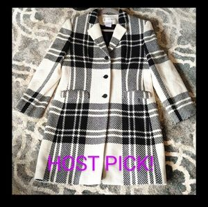 HP! Jones New York Women's Wool Plaid Coat Size 8